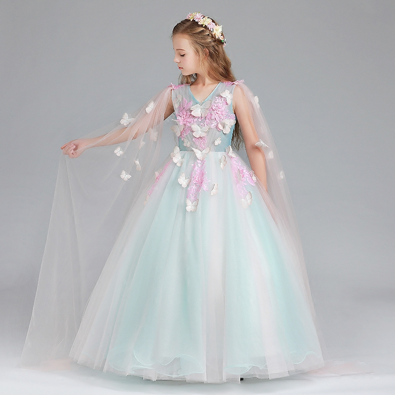 цена 2018 Children Princess Ball Gown Kids Pageant Dress Baby Birthday Party Floral Dress Girls Wedding First Communion Dresses E85