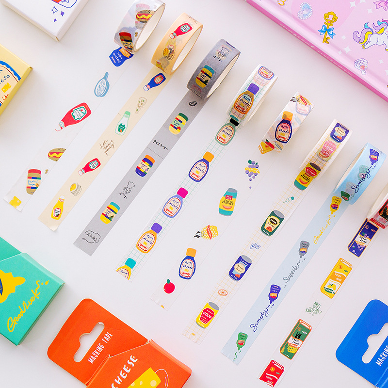 1.5cm*5m Creative Cartoon Drinks Washi Tape Adhesive Tape DIY Scrapbooking Sticker Label Masking Tape