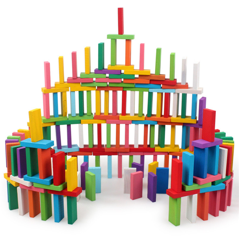 100/120/240 PCS Wooden Colorful Rainbow Domino Blocks Building Toy Early Educational Toys For Children Kids Dominoes Games Gifts