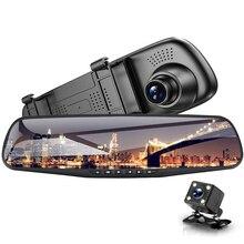 Видеорегистраторы для автомобилей Двойной объектив автомобиля Камера Full HD 1080p 4,3 дюймов видео Регистраторы Зеркало заднего вида с заднего вида dvr регистраторы Авто Регистратор