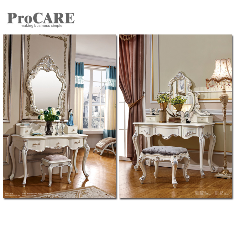 White Wood Mirror Almirah Simple Dressing Table Designs With Drawer - 8006 ...