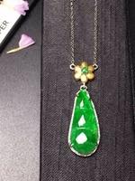 Ювелирные украшения, 18 K, белое золото, Будда 100%, натуральный зеленый бурмес, нефрит, подвеска из драгоценных камней, ожерелье, прекрасные под