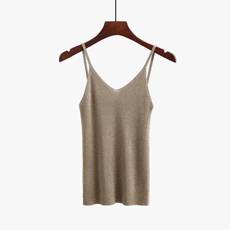 BYGOUBY Lurex Glitter verano mujeres Tank Top Sexy cuello pico camisola sin mangas Tops Slim Knitted Shirt Mujer