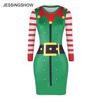 JESSINGSHOW New Fashion Women Xanh Dress Vestidos Sexy Bodycon Skinny Dresses Giáng Sinh Elf 3D In Ấn Bán Buôn Thả Vận Chuyển