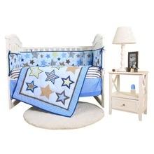 цена на Baby Bedding Set 4set/Pcs Print Baby Bed Bumper Crib Skirt Crib Mattress Cover Baby Bedding Boy Girl Cotton Crib Bedding Set