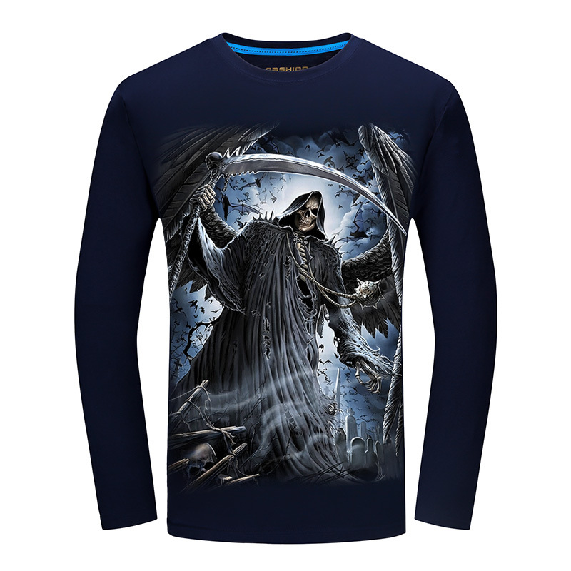 2017 autumn winter New listing High quality Men O-Neck Long sleeve skull T-shirt Hip hop Funny design Cotton T shirt Homme 6XL