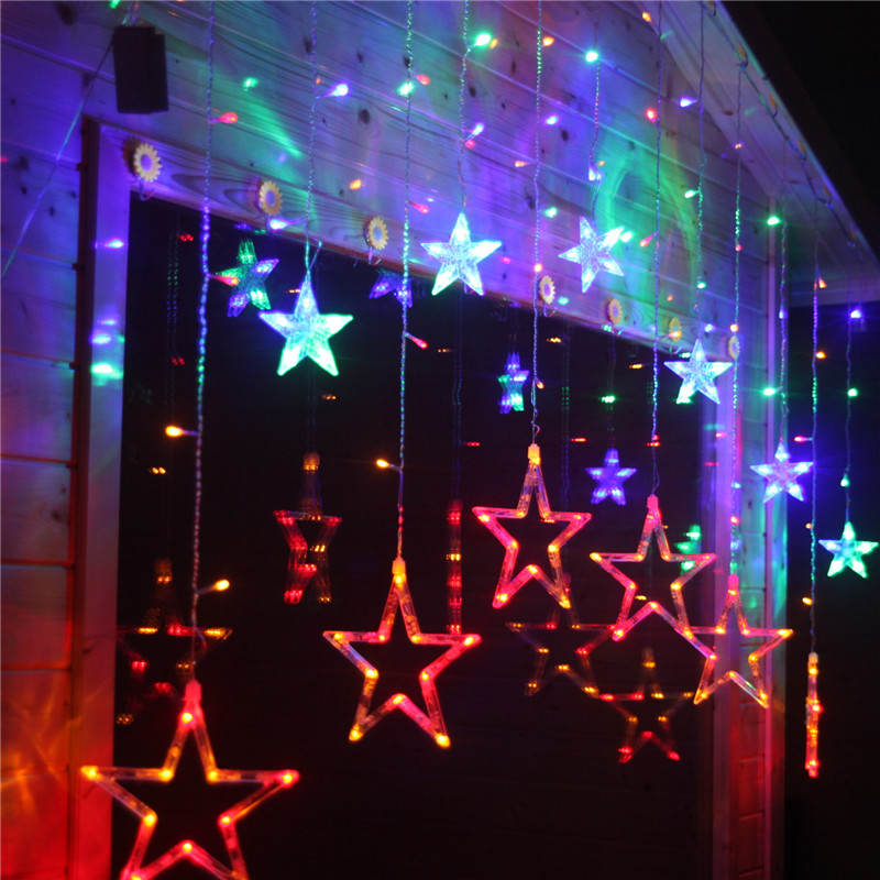 2mx1m 138pcs led christmas lights led star curtain light holiday lights lamp party wedding new year decoration in holiday lighting from lights lighting on