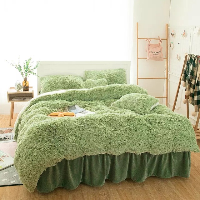 Green Winter Super Soft Warm Bedding 4pcs Set King Queen Size Coral