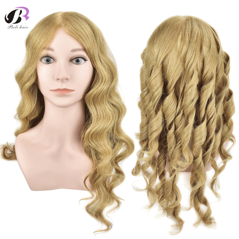 Bolihair Professional Training Head Blonde Human Hair Hairdressing Head With 100% Nature Hair Mannequin Head with Shoulder image