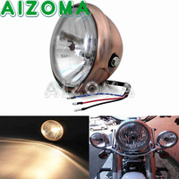 Streetfighters Motorcycle H4 12V Brown Solid Headlight For Harley Davidson Choppers Crusiers Trikes Cafe Racers Custom Headlamp