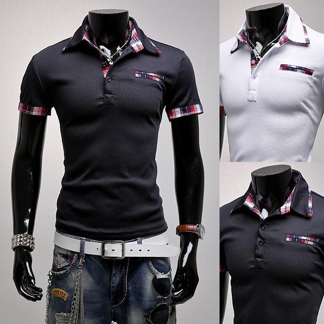 2016 summer style hombres de negocios sólido polo camisa, Camisa de manga corta, hombres camiseta slim fit polo, casual camisa de polo de tamaño pequeño 8