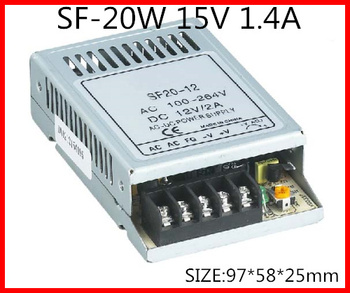 20W 15V 1.4A Ultra thin Single Output Switching power supply for LED Strip light  90-264 V AC Input