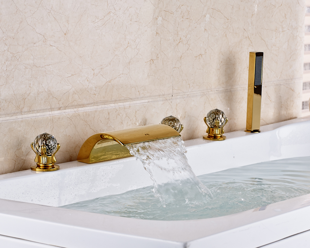 Gold finished widespread 5pcs bathroom tub faucet three - Gold bathroom faucets with crystal handles ...