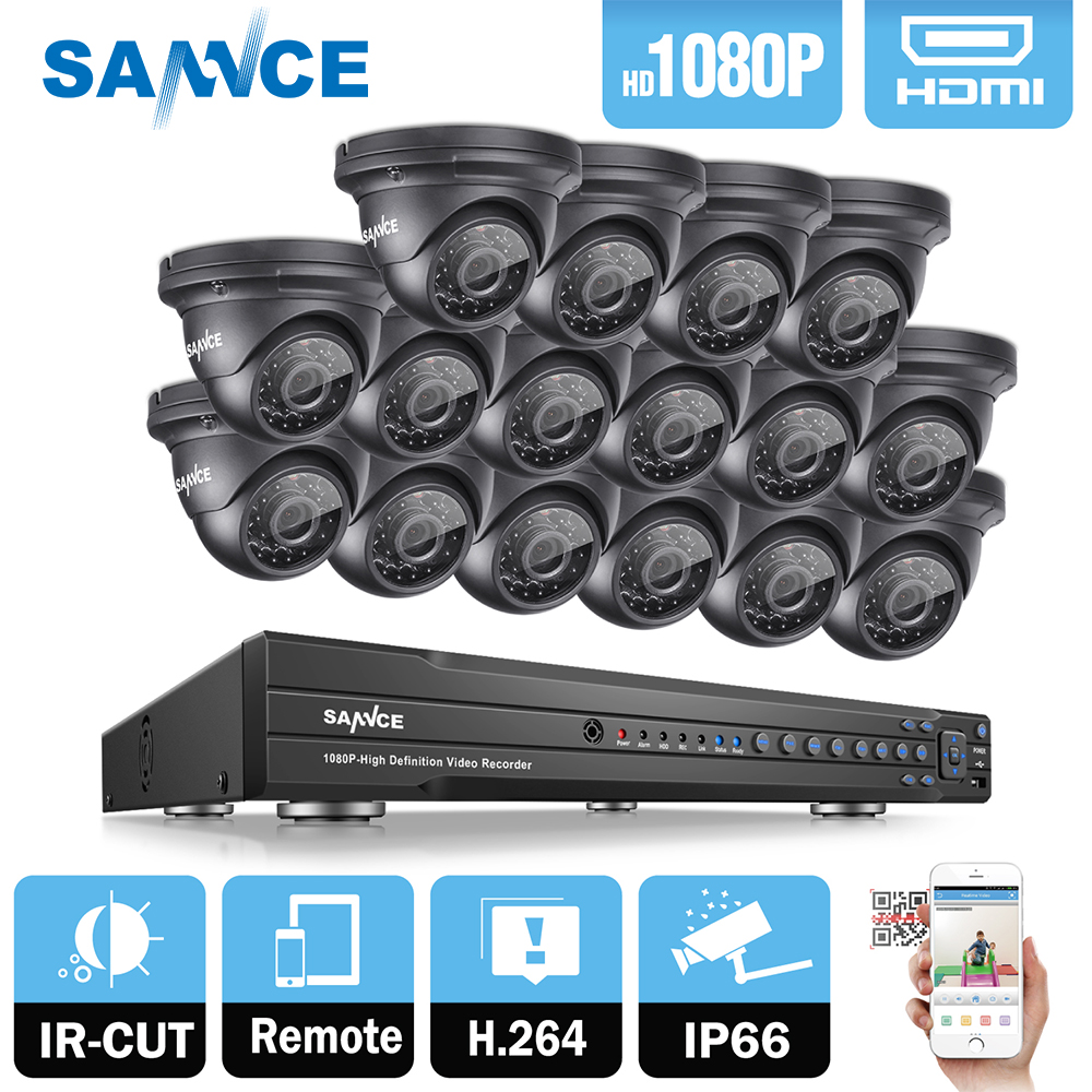 SANNCE 16CH 2MP 1080P Full HD CCTV System HDMI DVR 16PCS Dome Home Video Security Cameras Surveillance System With 2TB HDD