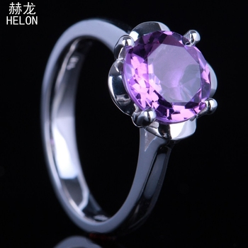 100% Genuine Amethyst Round Cut 9mm Solitaire Unique Ring Real 925 Sterling Silver Valentine's Day Gift Trendy Fine Jewelry Ring