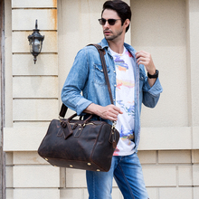 Vintage Travel Bag Men big capacity crazy horse genuine leather travel duffel 15
