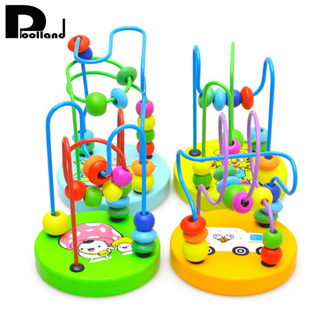 Children Colorful Wooden Mini Puzzle Around Beads Educational Toy Montessori Funny Toys Kids Baby Bright Colors Toys Gift