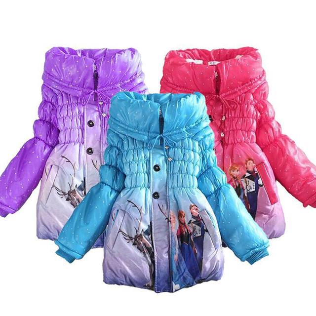 Chaqueta de invierno Para Niñas Ropa Elsa Niñas Chaqueta de Invierno Parka moda Abrigo Niños Chaqueta Abajo Para La Muchacha Traje Para La Nieve
