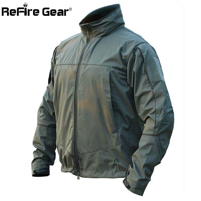 Erkek Kıyafeti'ten Ceketler'de ReFire Dişli Sonbahar Taktik Yumuşak Kabuk Askeri Ceket Erkekler Su Geçirmez Kapüşonlu Rüzgarlık Ceket Bahar Rahat Alan Ordu Ceketler'da  Grup 1