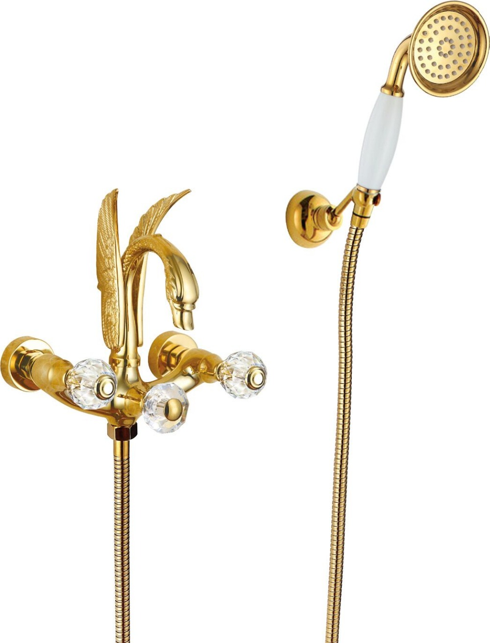 FREE SHIP wall mounted Gold finish PVD SWAN Bath shower Bathtub Faucet  WITH Hand Shower Crystal (or swan )handles free shipping polished chrome finish new wall mounted waterfall bathroom bathtub handheld shower tap mixer faucet yt 5333