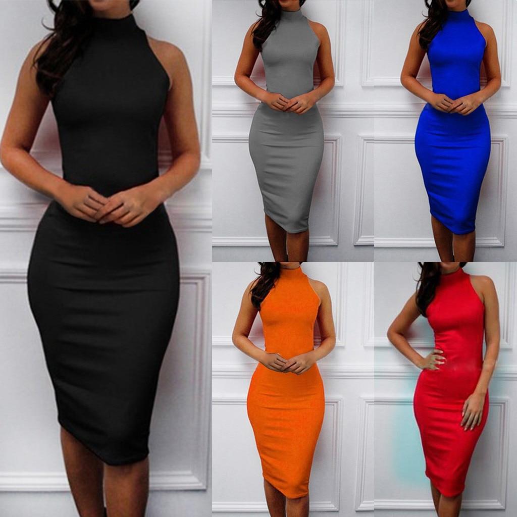 2019 Hot Women's Slim Strapless Backless Knee Dress Turtleneck Skinny Midi party dress robe femmeплатье летнее vestidos femme