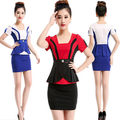 2015 Free Shipping Summer Style Fashion Slim OL Uniforms Short Sleeves Carreer Skirt  Suits New Design Women Work Wears