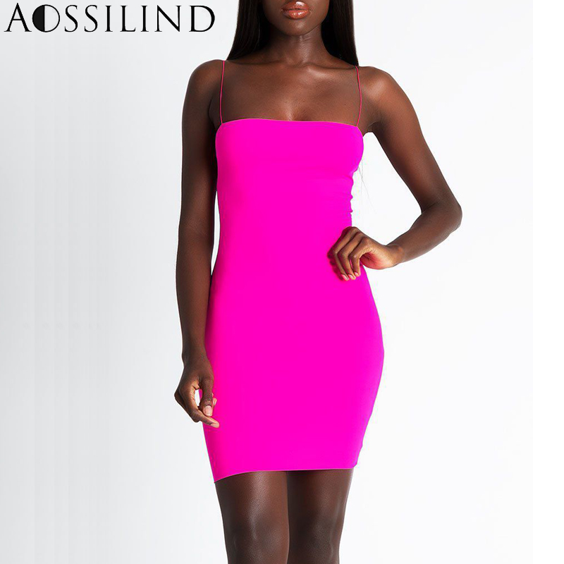 f343515b40 AOSSILIND Sexy Spaghetti Strap Summer Mini Bodycon Dress Casual Sleeveless  Dress Women Backless Skinny Party Club