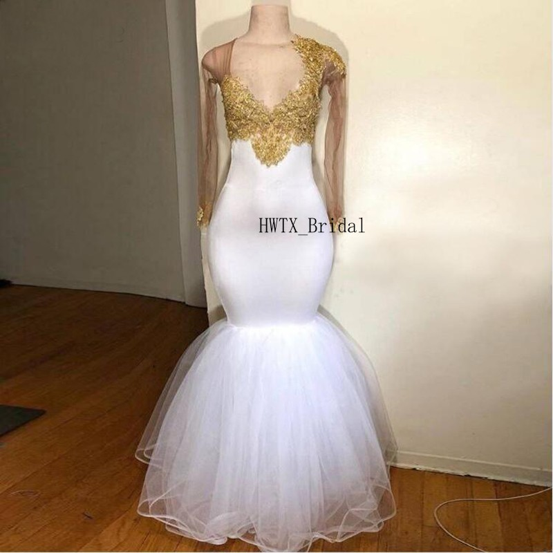 White Sexy Mermaid   Prom     Dresses   2019 Gold Lace Cap Long Sleeve V Neck Tulle Vestidos de festa African Long Formal Evening Gown