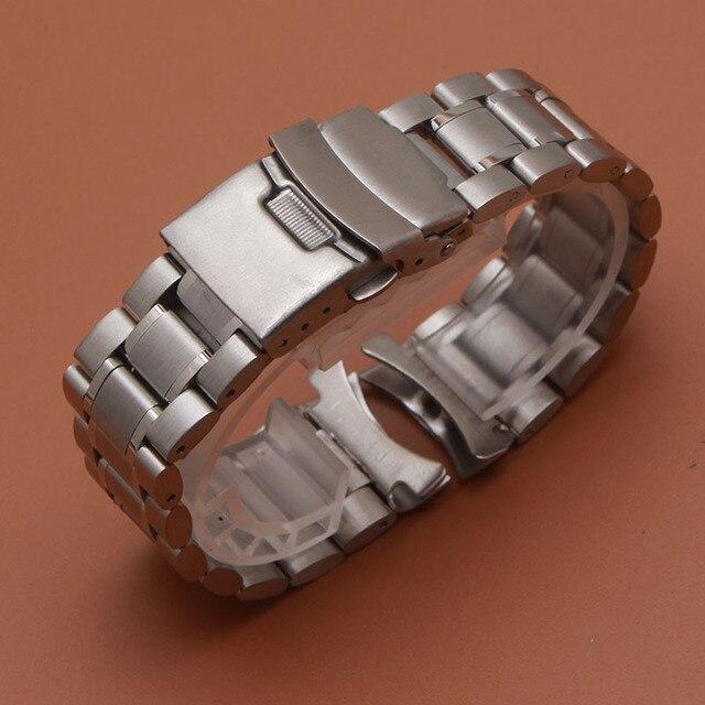 18มม.20มม.22มม.24มม.สแตนเลสสตีลสร้อยข้อมือนาฬิกาข้อมือนาฬิกาผู้ชายนาฬิกาสายคล้องคอปลายโค้งความปลอดภัยClasp