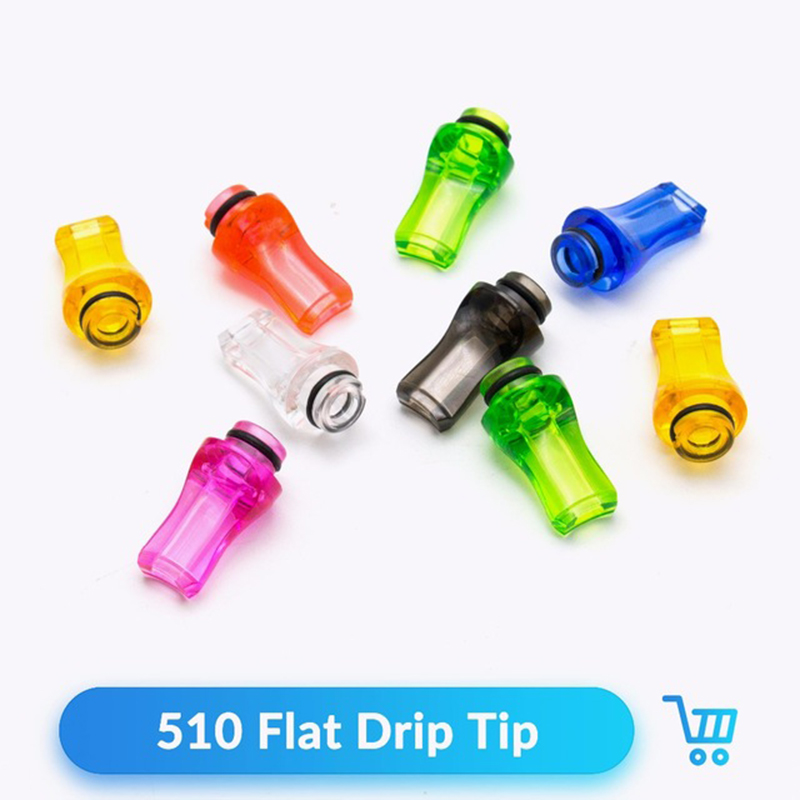 Volcanee Quartz Banger 10pcs/lot Flat Drip Tip 510 For V8 Baby Tank Electronic Cigarette 510 RDA RTA Atomizer Vape Mouthpieces