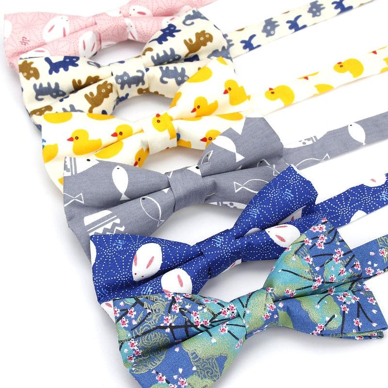KR1133-1139 Men's Bow Tie Adjustable 100% Cotton Butterfly Cravat Animal Cat Fish Duck Print Bowtie Tuxedo Bows Male Accessories