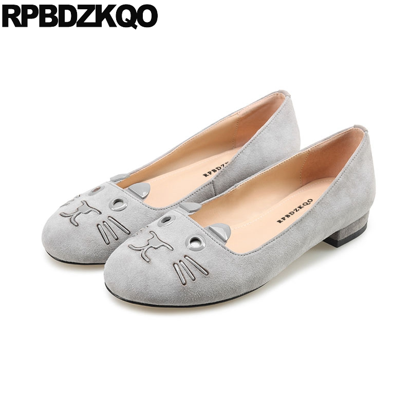 Gray Animal Print Ballerina Suede Cute Ladies Beautiful Flats Shoes 2018 Soft Ballet Women Slip On Round Toe Pink Designer women ballerina pointed toe ladies designer shoes china 2018 ballet ankle strap suede pink cute elastic flats japanese cross