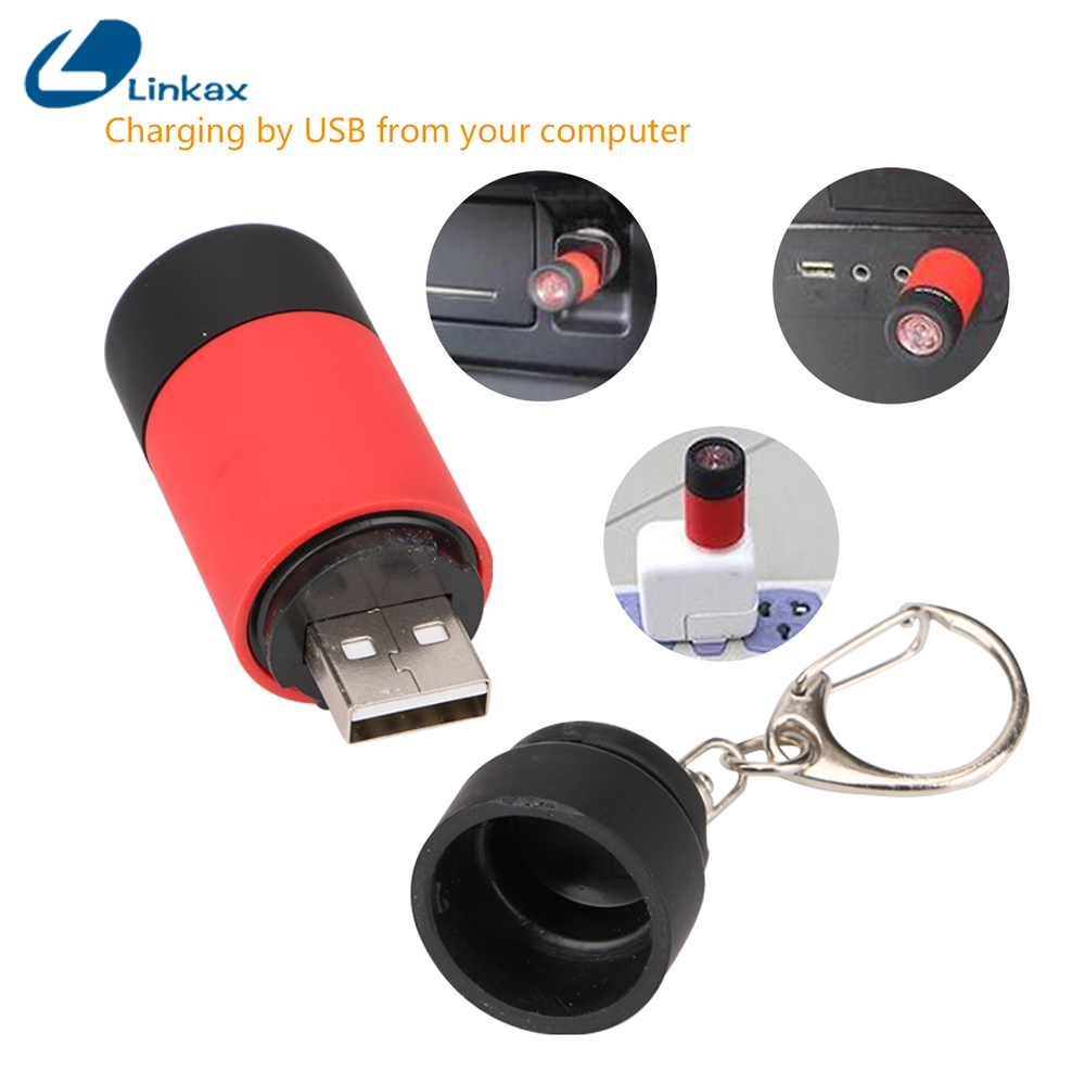 Mini Flashlight Rechargeable LED USB Torch Penlight Keychain Lamp Pocket Lantern