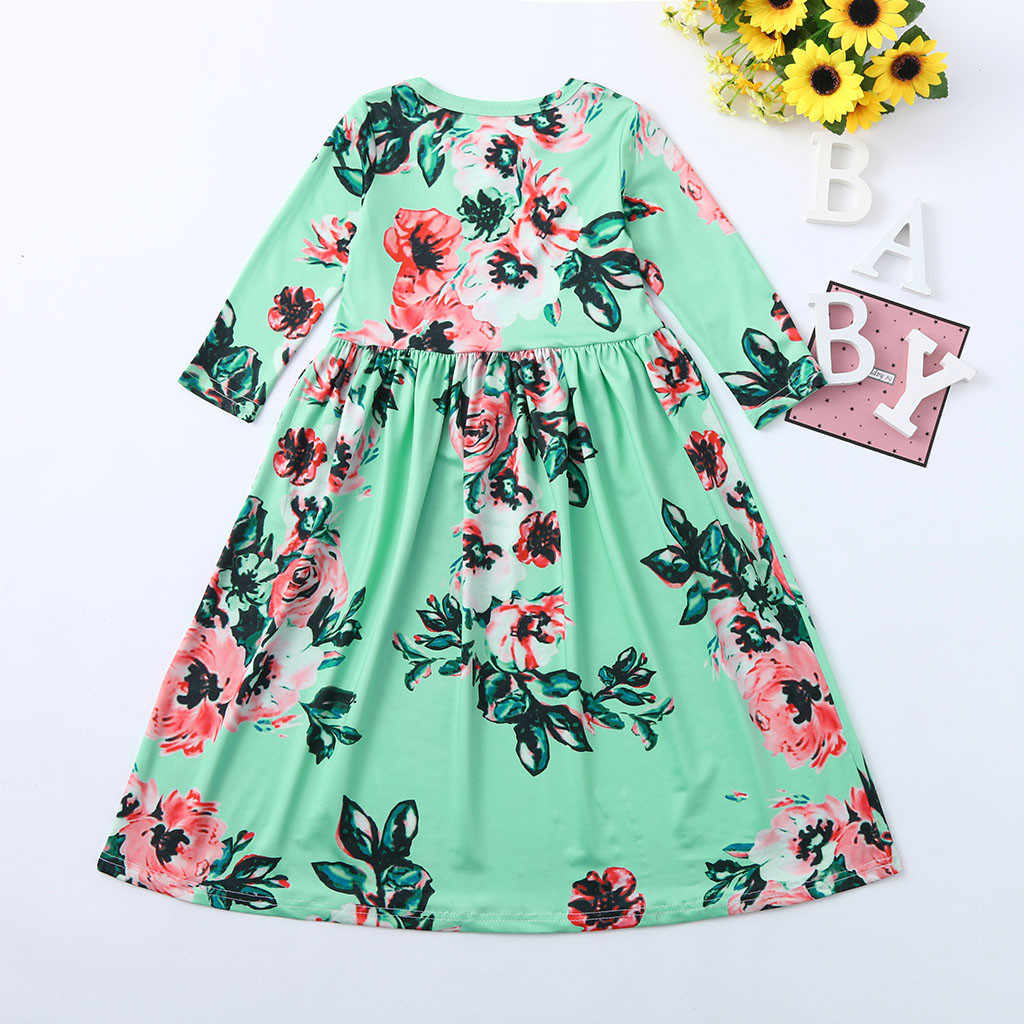 859d9e5a8b ... 2019 New Spring Summer Toddler Baby Kids Dresses For Girls 3 4 Sleeve  Floral Print ...