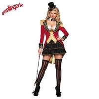 Red Ladies Ringmaster Costume Adult Sexy Naughty Circus Ringleader Halloween Costumes Carnival Party Queen Mini Dress