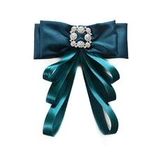 Фотография Cute Green Ribbon Bow Brooches for Women Handmade Exquisite Bowknot Wedding Brooch Shirt Accessories Necktie Tie