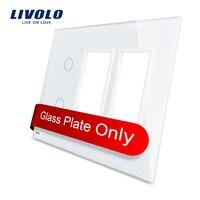 Free Shipping Livolo White Pearl Crystal Glass US Standard 2Gang 2 Frame Glass Panel VL C5