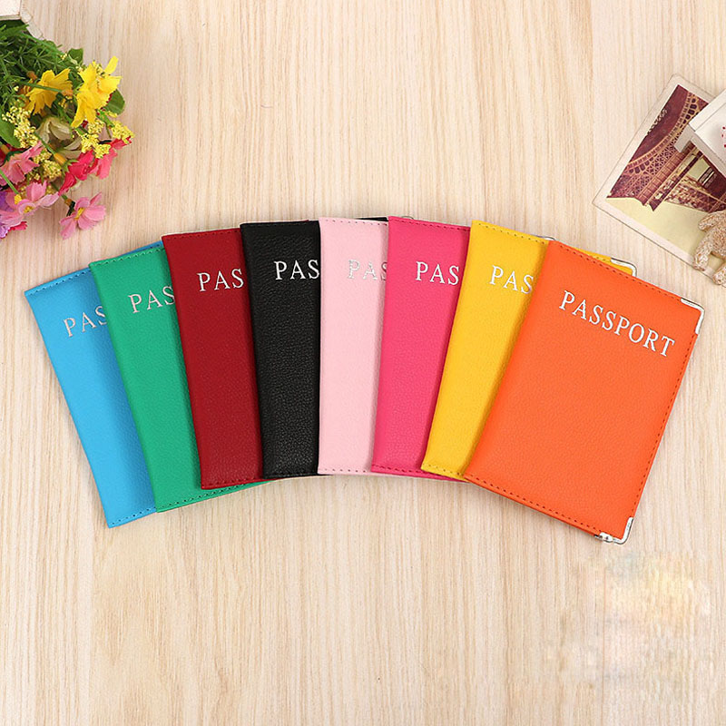 OKOKC Litchi Pattern Passport Cover Candy Colors PU Leather Passport Holder Nice Elegant Women Passport Case Travel Accessoires