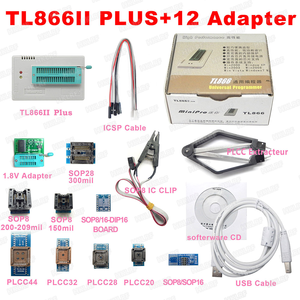 XGECU 100% Original Minipro TL866ii Plus + 12 Adapters EEPROM Universal Bios USB programmer better than TL866A TL866CS-in Integrated Circuits from Electronic Components & Supplies