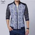 2016 New Arrival Spring Men's Solid Fashion Jacket Male Casual Slim Fit hit color stitching Collar Printed Jackets blue M-XXXL