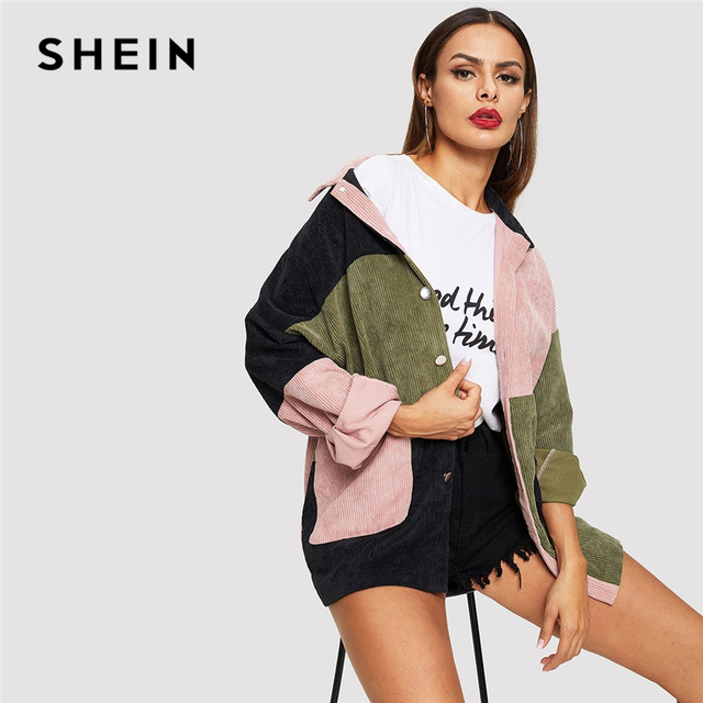 SHEIN Multicolor Casual Colorblock Cut And Sew Single Breasted Pocket Front Corduroy Jacket Autumn Leisure Women Coat Outerwear