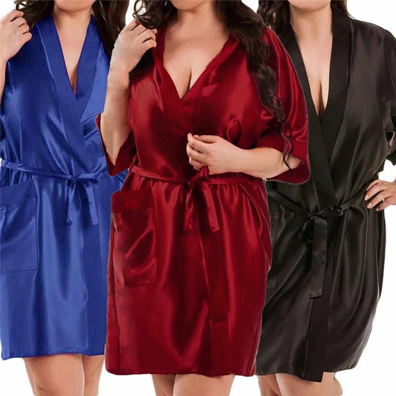 f519ab7abf ... Women s Satin Kimono Robe Sexy Short Sleeve Silk Bride Bridesmaid  Wedding Robes Woman Short Black Bathrobe ...