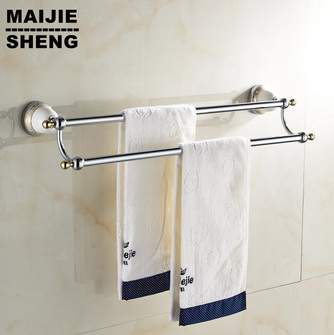 Double Chrome Ceramic Towel Bar,Towel Holder,Solid Brass Made,Chrome  Finished,Bath Products,Bathroom Accessories