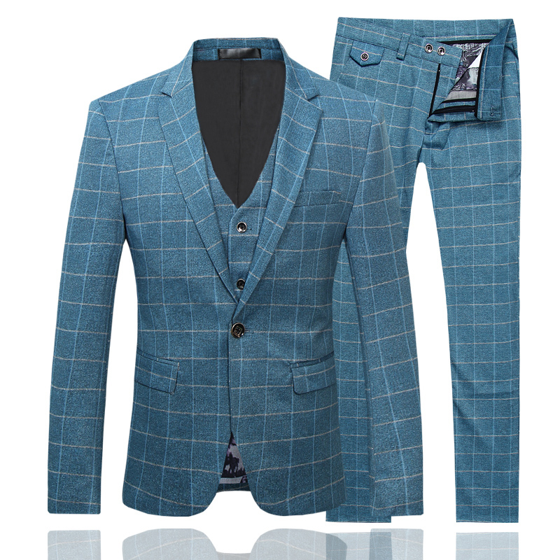 Высокого качества в английском стиле корейский Повседневный клетчатый костюм Мужская Жених костюм костюмы мужские Three piece/набор тонкий
