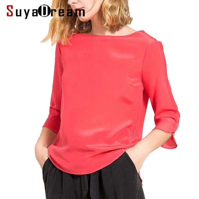 Soie femmes T SHIRT 3/4 manches solide en mousseline de soie T shirt 100% soie naturelle haut décontracté Blusas femininas printemps été blanc rouge vert