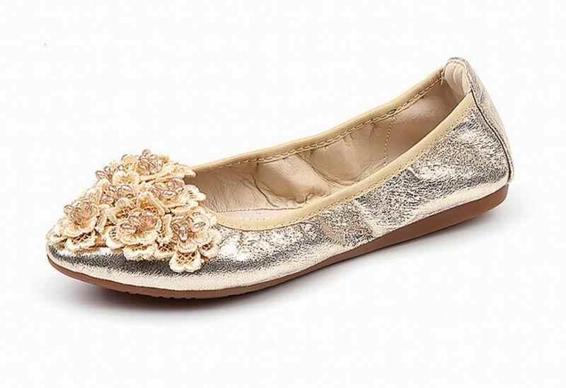 Donne comodi slip on appartamenti mocassini uovo rotoli scarpe delle signore balletto floding scarpe moda fiori mocassini casual singola scarpa