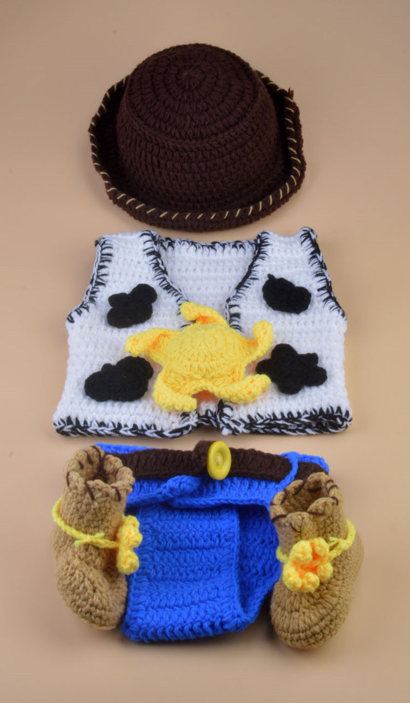 Crochet Newborn Baby Cowboy Outfit Baby Boy Photo Props Cowboy Boots Hat  and Diaper Cover with Vest 5 Pieces Set H253-in Hats   Caps from Mother    Kids on ... 3b9f91231b19