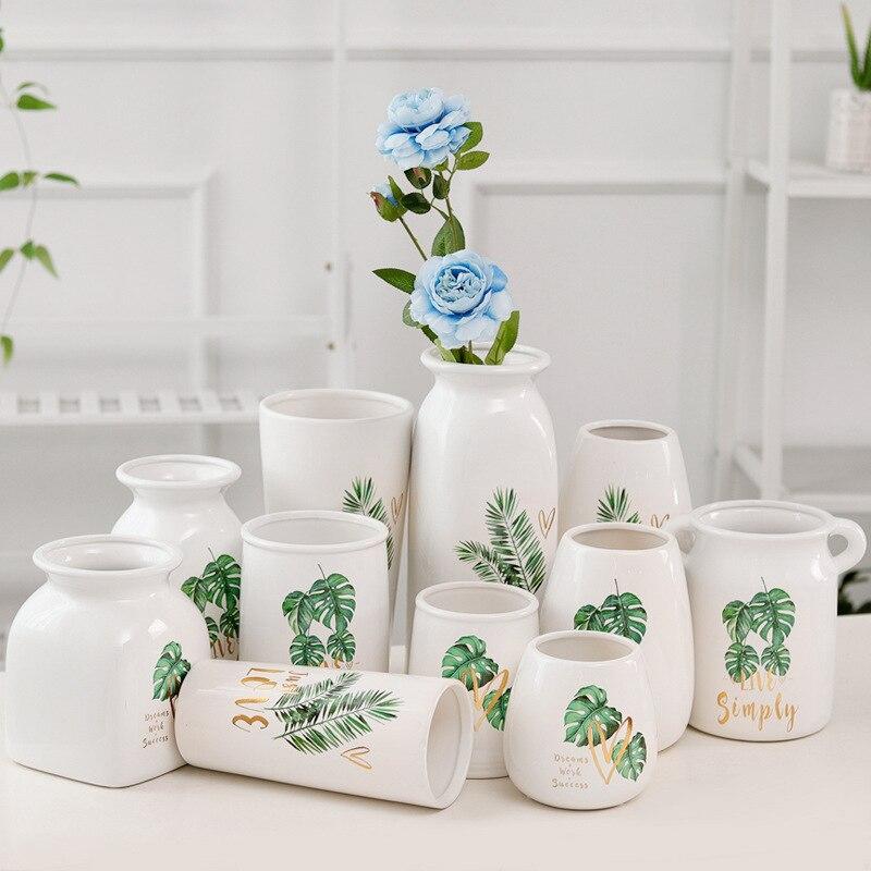 Fresh Mini Ceramic Small Vase Home Decor Gift Ideas And: European Green Leaf Ceramic Small Flower Vase Fresh Leaf