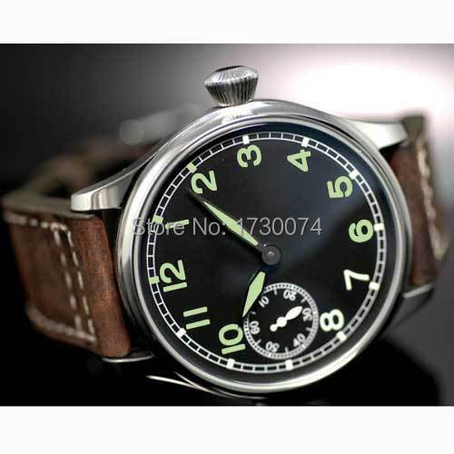 Parnis watch 44mm mechanical men's watch black dial green marks 17 jewels 6497 hand-winding movement wrist watch P05 44mm black sterile dial green marks relojes 6497 mens mechanical hand winding watch luminous armbanduhr cm164bk