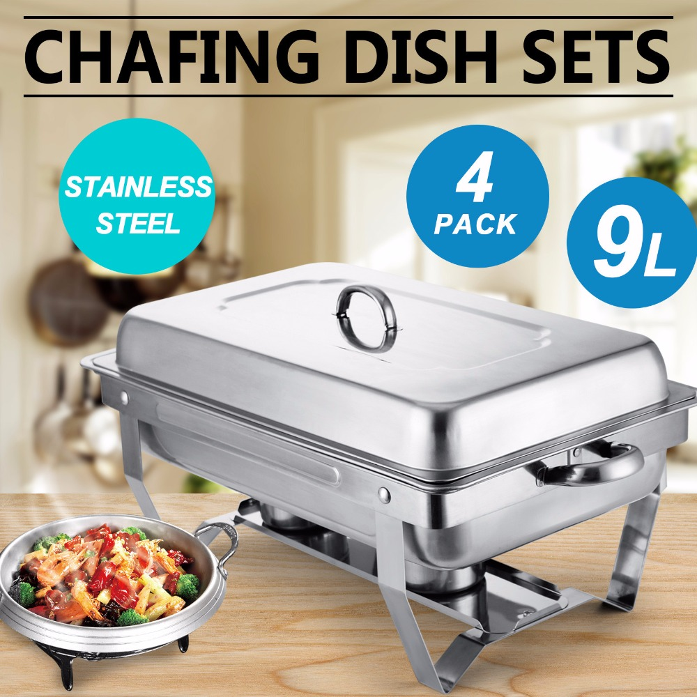 Chafing Dish Set Of 4 Stainless Steel Chafer Full Size 8 Quart Dishes For Catering Buffet